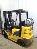 2014 HYUNDAI 25LC-7M 5000 LB LP GAS FORKLIFT CUSHION 84/185 3 STAGE MAST SIDE SHIFTER 8938 HOURS STOCK # 21566-NCB
