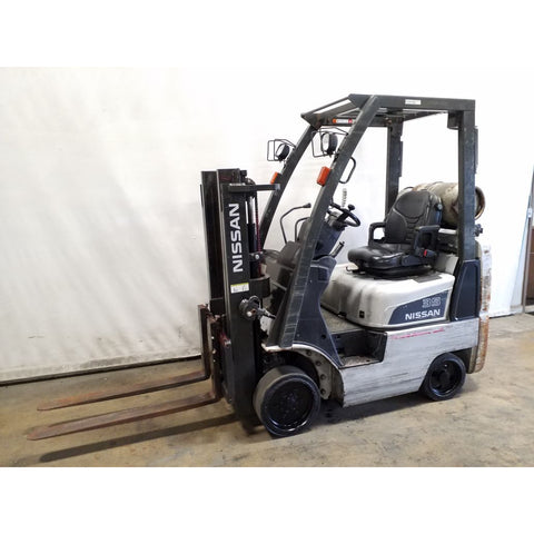 2007 NISSAN MCP1F1A18LV 3500 LB LP GAS FORKLIFT CUSHION 61/80 2 STAGE MAST HOURS STOCK # 20116-NCB