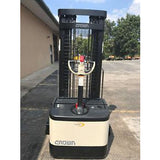 2006 CROWN WS-2300 3500 LB ELECTRIC FORKLIFT WALKIE STACKER CUSHION 84/128 2 STAGE MAST 6686 HOURS STOCK # 5852-457926-ARB