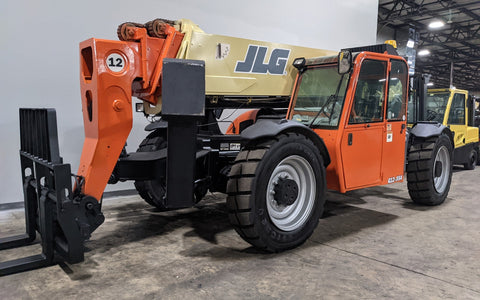 2009 JLG G12-55A 12000 LB DIESEL TELESCOPIC FORKLIFT TELEHANDLER PNEUMATIC 4WD OUTRIGGERS ENCLOSED HEATED CAB STOCK # BF9641229-ILIL