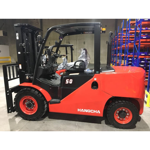 BRAND NEW 2020 HANGCHA CPCD50 10000 LB FORKLIFT DIESEL PNEUMATIC 111/189 3 STAGE MAST SIDE SHIFTER STOCK # BF9356189-499-BUF