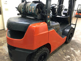 "2015 TOYOTA 8FGU25 5000 LB LP GAS FORKLIFT PNEUMATIC 78/170"" 3 STAGE MAST SIDE SHIFTING FORK POSITIONER 6612 HOURS STOCK # BF9073109-BEMIN"