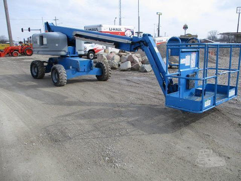 2006 GENIE S45 TELESCOPIC STRAIGHT BOOM LIFT AERIAL LIFT WITH JIB 45' REACH DUAL FUEL 4WD STOCK # BF9185189-CEIL