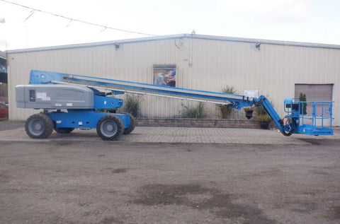 2012 GENIE S85 TELESCOPIC STRAIGHT BOOM LIFT AERIAL LIFT WITH JIB 85' REACH DIESEL 4WD 2574 HOURS STOCK # BF8495159-NLEQ - United Lift Used & New Forklift Telehandler Scissor Lift Boomlift