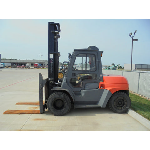 2008 TOYOTA 7FDU70 15500 LB DIESEL FORKLIFT PNEUMATIC ENCLOSED HEATED CAB 140/180 2 STAGE MAST SIDE SHIFTER DUAL TIRES 3258 HOURS STOCK # BF9347879-499-MYR