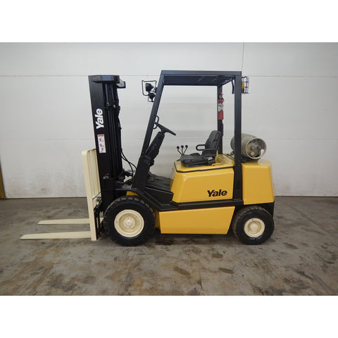 "2006 YALE GLP050TG 5000 LB LP GAS FORKLIFT PNEUMATIC 194"" 3 STAGE MAST SIDE SHIFTER STOCK # BF9108639-165-LSC"