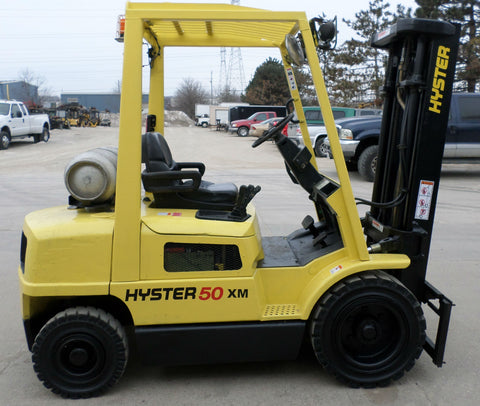 "2004 HYSTER H50XM 5000 LB LP GAS FORKLIFT PNEUMATIC 83/240"" QUAD MAST SIDE SHIFTER STOCK # BF98919-BUF"