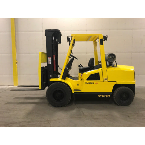 "2003 HYSTER H100XM 10000 LB LP GAS FORKLIFT PNEUMATIC 100/196"" 3 STAGE MAST SIDE SHIFTER STOCK # BF9138789-239-BUF - Buffalo Forklift LLC"