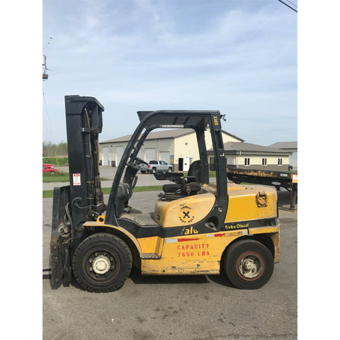 2008 YALE GDP080VX 8000 LB DIESEL FORKLIFT PNEUMATIC 96/143 2 STAGE MAST SIDE SHIFTER 5676 HOURS STOCK # BF9134519-249-BUF