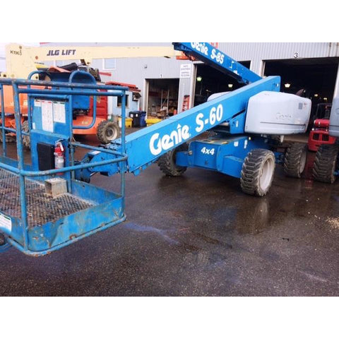 2004 GENIE S60 TELESCOPIC BOOM LIFT AERIAL LIFT 60' REACH GAS FUEL 4WD 1700 HOURS ONLY STOCK # BFML148CN-ALL - Buffalo Forklift LLC