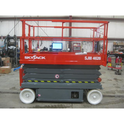 2005 SKYJACK SJ4626 SCISSOR LIFT 26' REACH 515 HOURS ELECTRIC SMOOTH CUSHION TIRES STOCK # BF979549-119-WI-INS1875