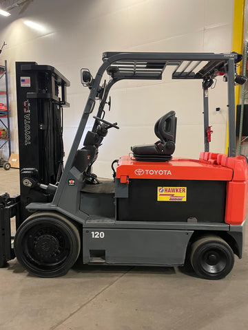 "2015 TOYOTA 7FBCU55 12000 LB ELECTRIC FORKLIFT CUSHION 95/132"" 2 STAGE CLEAR VIEW MAST SIDE SHIFTER STOCK # BF9155119-BUF"