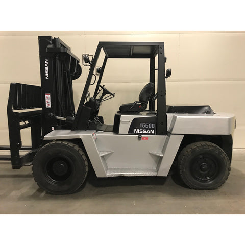 2002 NISSAN 15500 LB DIESEL FORKLIFT PNEUMATIC RARE 3 STAGE MAST SIDE SHIFTER 5597 HOURS STOCK # BF9245979-BUF