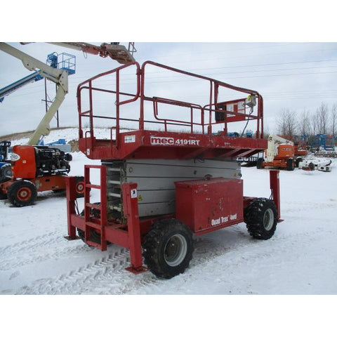2008 MEC 4191RT SCISSOR LIFT 41' REACH ONLY 1637 HOURS DUAL FUEL ROUGH TERRAIN 4WD OUTRIGGERS STOCK # BF9103529-199-WI