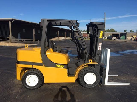 "2012 YALE GDP090VX 9000 LB DIESEL FORKLIFT PNEUMATIC 86/163"" 3 STAGE MAST SIDE SHIFTER 6187 HOURS STOCK # BF9213449-TXB"