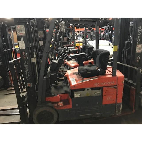 "2012 TOYOTA 7FBEU18 3000 LB 36 VOLT ELECTRIC FORKLIFT CUSHION 83/189"" 3 STAGE MAST SIDE SHIFTER STOCK # BF912587-ALT"