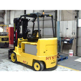 2009 HYSTER E80Z 8000 LB 48 VOLT ELECTRIC FORKLIFT CUSHION 88/185 3 STAGE MAST SIDE SHIFTING FORK POSITIONER 2174 HOURS STOCK # BF9135249-219-IN