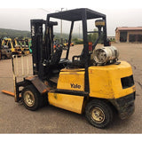 "2002 YALE GLP060VX 6000 LB LP GAS FORKLIFT PNEUMATIC 87/187"" 3 STAGE MAST SIDE SHIFTER + FORK POSITIONER STOCK # BF979199-189-CLMN - united-lift-equipment"