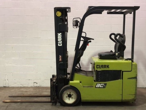 2011 CLARK TMX15 3000 LB ELECTRIC FORKLIFT CUSHION 83/188 3 STAGE MAST SIDE SHIFTER 497 HOURS STOCK # BF973729-OWB