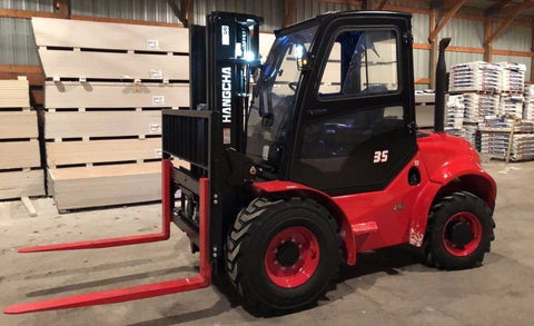 "BRAND NEW 2019 HANGCHA 35-RT 4WD 7000 LB FORKLIFT DIESEL ENCLOSED HEATED CAB ROUGH TERRAIN 93/185 3 STAGE MAST SIDE SHIFTER 72"" FORKS STOCK # BF939329-PENC - united-lift-equipment"