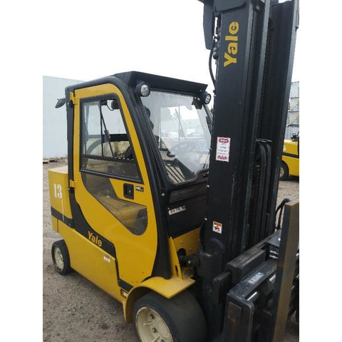 2014 YALE GC120SVX 12000 LB DIESEL FORKLIFT 106/220 3 STAGE MAST CUSHION ENCLOSED CAB 7493 HOURS STOCK # BF9301209-ALTB