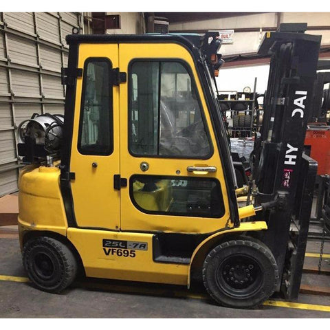 "2013 HYUNDAI 25L 5000 LB LP GAS FORKLIFT PNEUMATIC 85/185"" 3 STAGE MAST SIDE SHIFTING FORK POSITIONER ENCLOSED CAB STOCK # BF998129-PETX"
