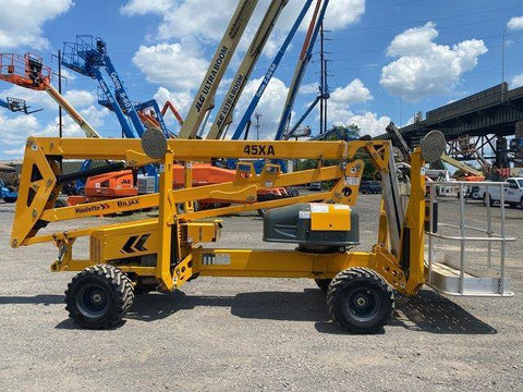 2015 BILJAX HAULOTTE 45XA TOWABLE ARTICULATING BOOM LIFT WITH JIB ARM 45' REACH DUAL FUEL PNEUMATIC TIRES 456 HOURS STOCK # BF9298759-NLEQ