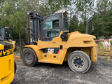"2015 CATERPILLAR DP120N1 24000 LB DIESEL FORKLIFT PNEUMATIC 135/149"" 2 STAGE MAST SIDE SHIFTING FORK POSITIONER ENCLOSED HEATED CAB 7347 HOURS STOCK # BF9695549-TRANSC - United Lift Used & New Forklift Telehandler Scissor Lift Boomlift"