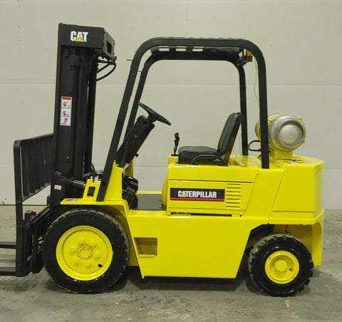 "2001 CATERPILLAR V50DSA 5000 LB LP GAS FORKLIFT PNEUMATIC 86/189"" 3 STAGE MAST SIDE SHIFTER 9461 HOURS STOCK # BF956049-BUF"