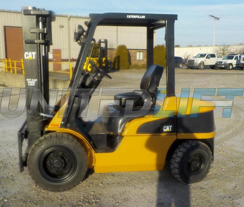 "2006 CATERPILLAR P6000 6000 LB DIESEL FORKLIFT PNEUMATIC 84/130"" 2 STAGE MAST SIDE SHIFTER STOCK # BF9155429-INB"