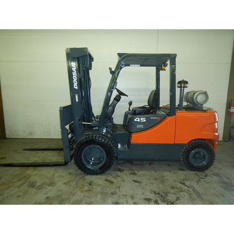2008 DOOSAN G45S-5 10000 LB LP GAS FORKLIFT PNEUMATIC 96/203 3 STAGE MAST SIDE SHIFTER FORK POSITIONER 1900 HOURS STOCK # BF9225489-299-LSB - Buffalo Forklift LLC
