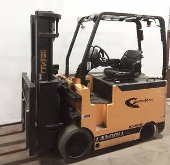 "2014 DREXEL SL40AC 4000 LB 48 VOLT ELECTRIC FORKLIFT CUSHION 85/188"" 3 STAGE UNIQUE SWING MAST SIDE SHIFTING FORK POSITIONER 1580 HOURS STOCK # BF9267519-BUF"