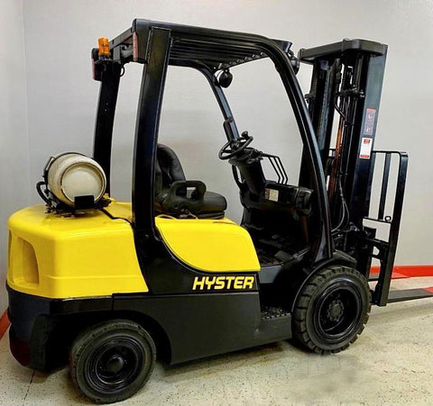 2012 HYSTER H60FT 6000 LB LP GAS FORKLIFT PNEUMATIC 87/187 3 STAGE MAST SIDE SHIFTER 7854 HOURS STOCK #91359-COCA