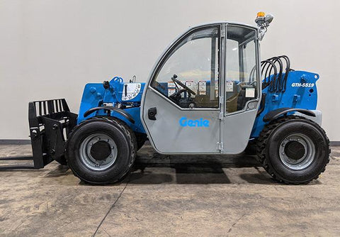 2008 GENIE GTH5519 5500 LB DIESEL TELESCOPIC FORKLIFT TELEHANDLER PNEUMATIC 4WD ENCLOSED CAB 3500 HOURS STOCK # BF9339549-ILIL