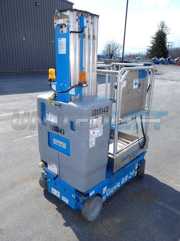 GENIE GR20 PERSONAL RUNABOUT LIFT 20' REACH ELECTRIC 30 AVAILABLE STOCK # BF927519-PAB - United Lift Used & New Forklift Telehandler Scissor Lift Boomlift