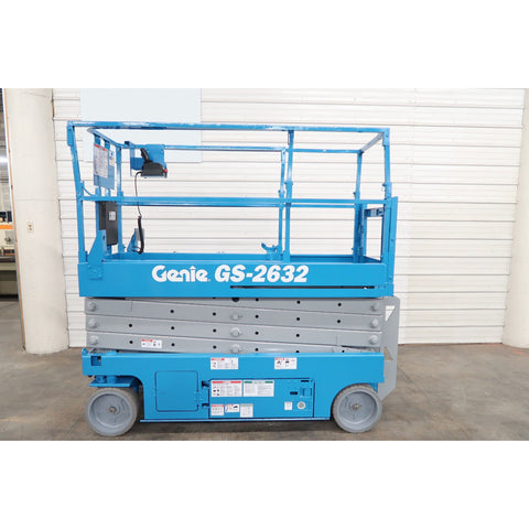 2012 GENIE GS2632 SCISSOR LIFT 26' REACH ELECTRIC SMOOTH CUSHION TIRES 198 HOURS STOCK # BF18747-DPA