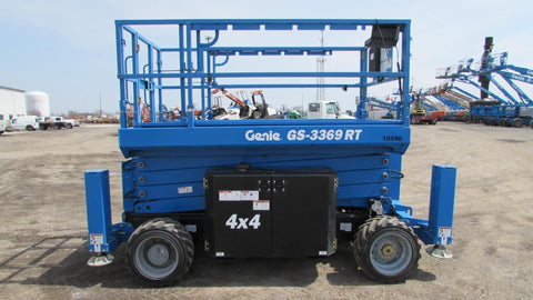 2018 GENIE GS3369RT DIESEL ROUGH TERRAIN SCISSOR LIFT 33′ REACH 4WD 15 HOURS STOCK # BF9422439-AEIL