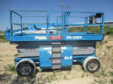 2011 GENIE GS3384RT SCISSOR LIFT 33' REACH DIESEL ROUGH TERRAIN 4WD 1741 HOURS STOCK # BF9154579-WIB - United Lift Used & New Forklift Telehandler Scissor Lift Boomlift