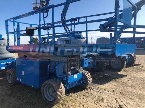 2012 GENIE GS3369RT DUAL FUEL ROUGH TERRAIN SCISSOR LIFT 33′ REACH 4WD 1696 HOURS STOCK # BF9184539-WIB