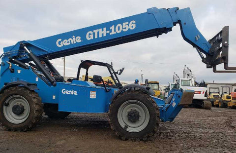 2019 GENIE GTH-1056 10000 LB DIESEL TELESCOPIC FORKLIFT TELEHANDLER OPEN CAB PNEUMATIC 4WD OUTRIGGERS 638 HOURS STOCK # BF9135159-NLEQ - United Lift Used & New Forklift Telehandler Scissor Lift Boomlift