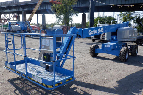 2016 GENIE S45 TELESCOPIC STRAIGHT BOOM LIFT AERIAL LIFT WITH JIB 45' REACH DIESEL 4WD 1320 HOURS STOCK # BF9395149-PAB
