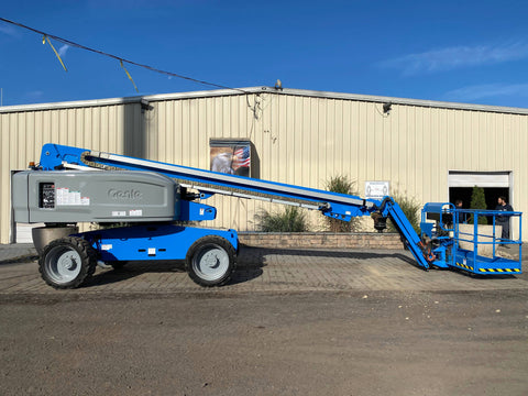 2014 GENIE S65 TELESCOPIC STRAIGHT BOOM LIFT AERIAL LIFT WITH JIB ARM 65' REACH DUAL FUEL 4WD 2061 HOURS STOCK # BF94457719-NLEQ - United Lift Used & New Forklift Telehandler Scissor Lift Boomlift