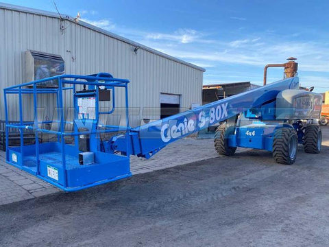 2013 GENIE S80X TELESCOPIC STRAIGHT BOOM LIFT AERIAL LIFT 80' REACH DIESEL 4WD 3220 HOURS STOCK # BF9398759-NLEQ