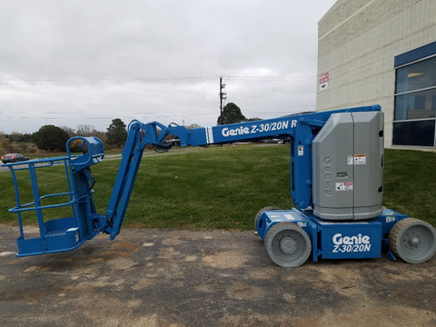 2011 GENIE Z30/20NRJ ARTICULATING BOOM LIFT AERIAL LIFT WITH JIB ARM 30' REACH ELECTRIC 639 HOURS STOCK # BF9138539-WIB - United Lift Used & New Forklift Telehandler Scissor Lift Boomlift