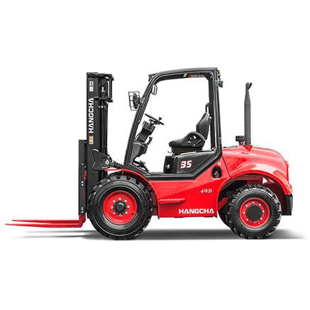 BRAND NEW 2018 HANGCHA 35-RT 4WD 7000 LB FORKLIFT DIESEL ROUGH TERRAIN 92/163 3 STAGE MAST SIDE SHIFTER STOCK # BF9376209-479-BUF