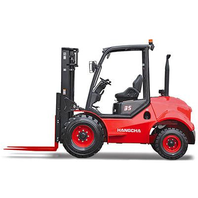 BRAND NEW 2018 HANGCHA 35-RT 7000 LB FORKLIFT DIESEL ROUGH TERRAIN 92/163 3 STAGE MAST SIDE SHIFTER STOCK # BF9356219-459-BUF