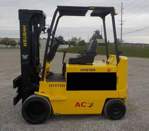 "2008 HYSTER E80Z 8000 LB 48 VOLT ELECTRIC FORKLIFT CUSHION 88/185"" 3 STAGE MAST SIDE SHIFTER 2885 HOURS STOCK # BF103120-INB - United Lift Used & New Forklift Telehandler Scissor Lift Boomlift"