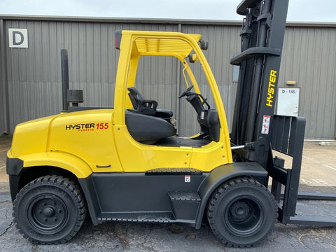 "2015 HYSTER H155FT 15500 LB DIESEL FORKLIFT PNEUMATIC 130/173"" 2 STAGE MAST FORK POSITIONER 7778 HOURS STOCK # BF9291139-TXB - United Lift Used & New Forklift Telehandler Scissor Lift Boomlift"