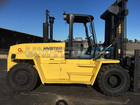 "2004 HYSTER H360HD 36000 LB DIESEL FORKLIFT PNEUMATIC 143/147"" 2 STAGE MAST SIDE SHIFTING FORK POSITIONER 9006 HOURS HOURS STOCK # BF9695339-TXB"