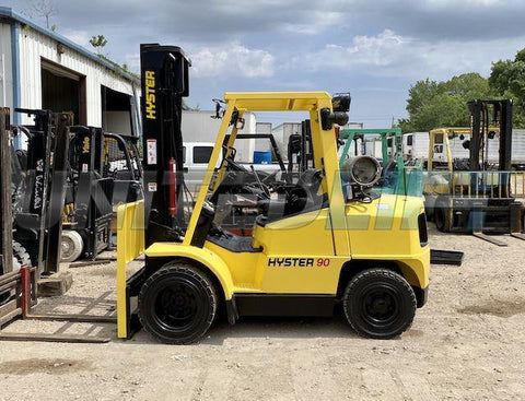 "2006 HYSTER H90XMS 9000 LB LP GAS FORKLIFT PNEUMATIC 169"" 2 STAGE MAST SIDE SHIFTER 4900 HOURS STOCK # BF9115479-AXIS"